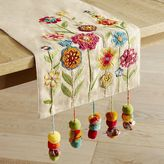 Pier 1 Imports Bright Flowers with Pompoms Table Runner