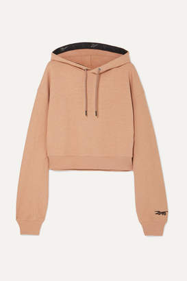 Reebok x Victoria Beckham Cropped Embroidered Loopback Cotton-jersey Hoodie - Blush
