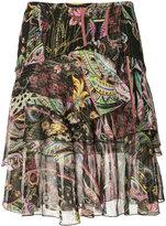 Roberto Cavalli floral print layered skirt