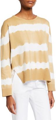 Piazza Sempione Tie-Dye Striped Cotton Sweater