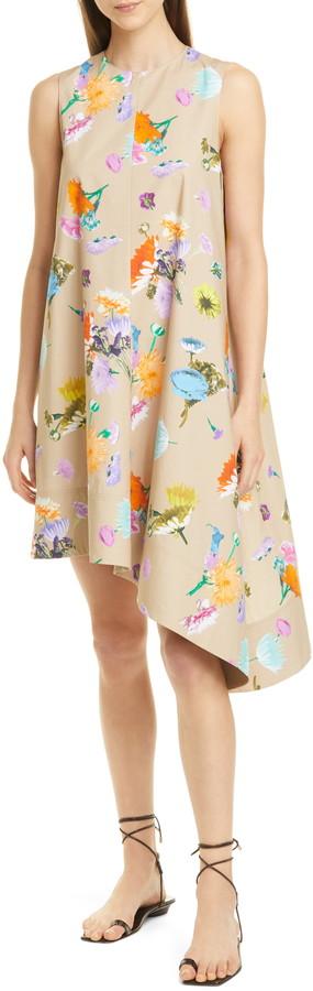 Tibi Arya Asymmetrical Floral Print Cotton Dress