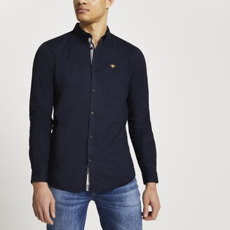 River Island Mens Navy embroidered muscle fit Oxford shirt
