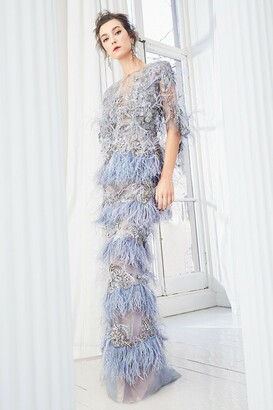 Marchesa Tulle Illusion Neckline Column Gown with Capelet