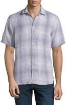 Neiman Marcus Linen Plaid Short-Sleeve Shirt, Blue