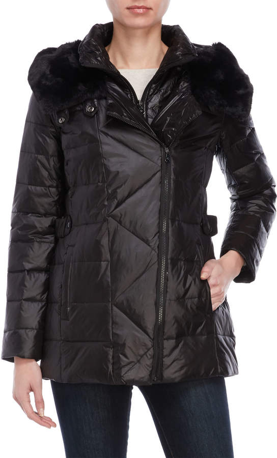 1a038ddacf8 Faux Fur-Trimmed Hooded Down Coat