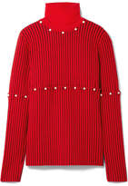 Opening Ceremony Convertible Faux Pearl-embellished Wool-jacquard Turtleneck Sweater - Red