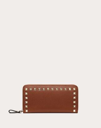 Valentino Rockstud Grainy Calfskin Zippered Wallet Women Brown Calfskin 100% OneSize