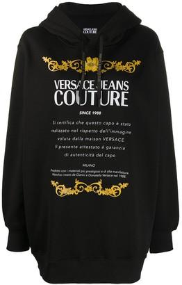Versace Extra-Long Logo-Print Hoodie