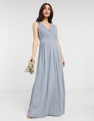 TFNC bridesmaid pleated sleeveless maxi dress in dusty blue