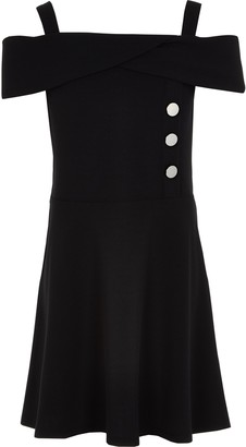 River Island Girls Black bardot button skater dress