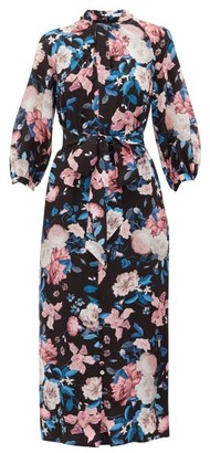 Erdem Finnetta Dusk Bouquet-print Silk-crepe Dress - Womens - Black Pink