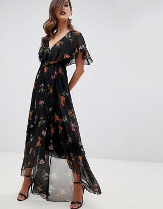 Asos Design DESIGN maxi dress with cape back and dipped hem in dark black floral-Multi