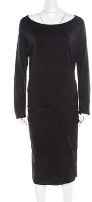 Diane von Furstenberg Black Knit Twist Front Detail Long Sleeve Eleonora Dress L