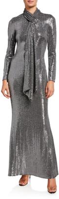 Badgley Mischka Sequin Tie-Neck Long-Sleeve Gown