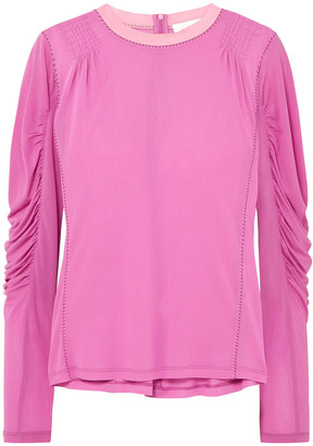 Chloé Ruched Satin-jersey Top