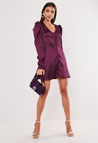 Missguided Wine Satin Button Through Skater Dress