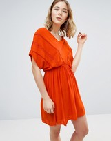 Vero Moda Short Sleeve Skater Dress With Elasticated Waist And Lace Detail