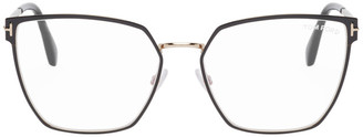 Tom Ford Black and Gold Blue Block Thin Angular Glasses