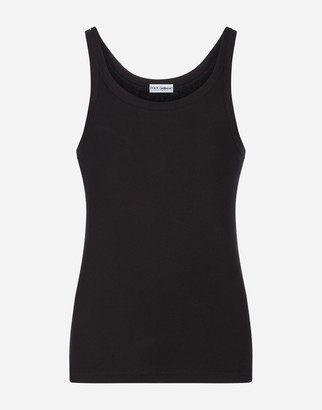 Dolce & Gabbana Tank Top In Ribbed Cotton