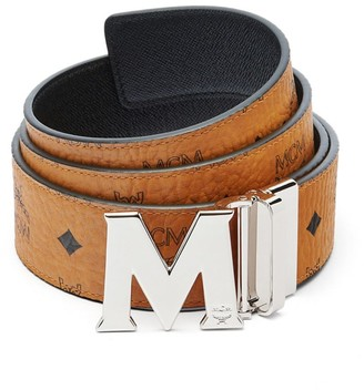 MCM M Reversible Belt in Black Logo Visetos