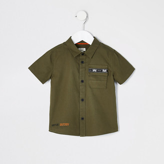 River Island Mini boys khaki short sleeve utility shirt