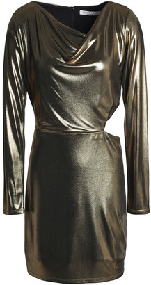 Halston Cutout Draped Lame Mini Dress