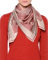Giorgio Armani Check-Print Silk Scarf, Red