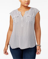 INC International Concepts Plus Size Polka-Dot Top, Created for Macy's