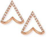 Ef Collection 14K Gold Mini Chevron Wrap Stud Earrings with Diamonds