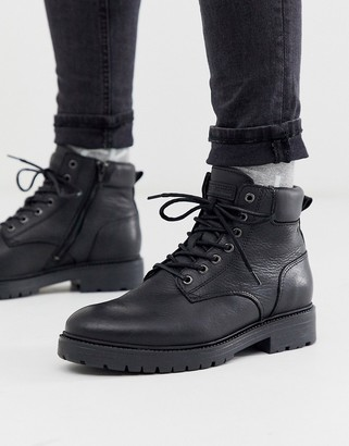 Jack and Jones lace up boots in black