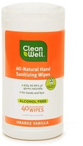 CleanWell All-Natural Hand Sanitizing Wipes Orange Vanilla