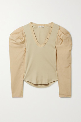 Ulla Johnson Flynn Paneled Ribbed-knit And Cotton-poplin Top - Taupe