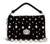 Miu Miu Faux-pearl embellished velvet shoulder bag