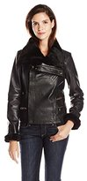 Badgley Mischka Women's Leather Moto Jacket with Faux Shearling Trim