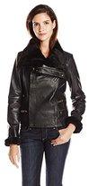 Badgley Mischka Women's Leather Moto Jacket with Fur Trim