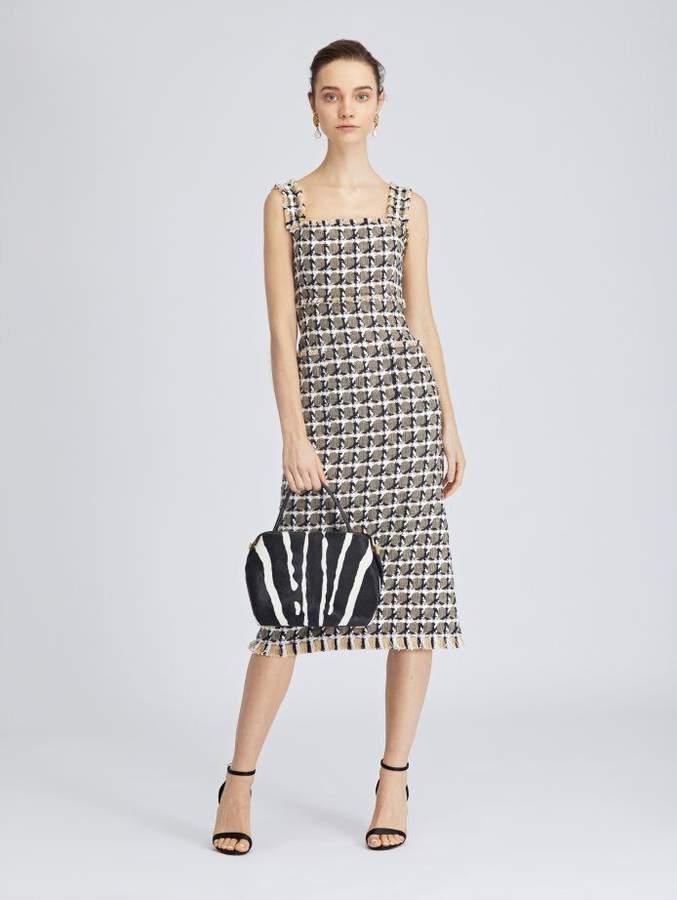 Oscar de la Renta Houndstooth Tweed Pencil Dress