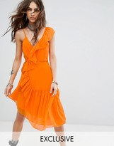 Sacred Hawk Festival Wrap Front Cami Dress With Asymmetric Ruffle Trim