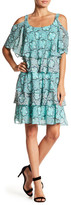 Robbie Bee Printed Tiered Cold Shoulder Dress