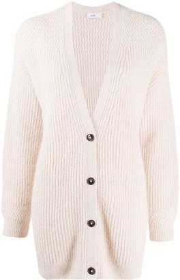 Closed Ribbed Knit Longline Cardigan