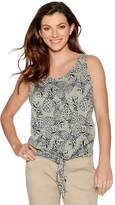 M&Co Sleeveless pineapple print tie front top