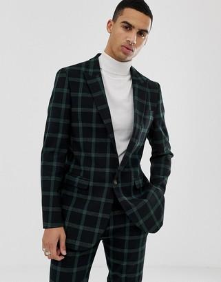 Asos Design DESIGN slim suit jacket in black and green windowpane check