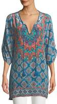 Tolani Colby Graphic-Print Silk Tunic