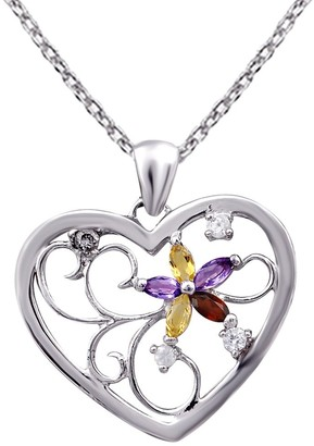 Citrine, Garnet, Amethyst, Topaz Sterling Silver Marquise Short Pendant by Orchid Jewelry
