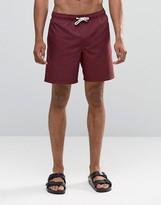 Asos Swim Shorts In Burgundy Mid Length