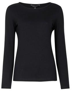 Dorothy Perkins Womens Black Plain Long Sleeve Crew Neck Cotton T