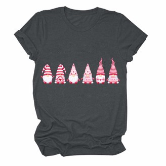 Carmar Graphic Tees for Women Teen Girls Six Anime Gnome Elves Wears Striped Hats Print Loose Fit Short Sleeve Tops Tshirt Dark Gray