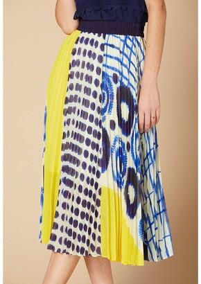 Derhy Plisse Patterned Midi Skirt with Elasticated Waist
