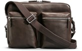 Shinola Zip Top Leather Messenger Briefcase