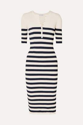 Altuzarra Sunday Striped Ribbed Stretch-knit Midi Dress - Navy