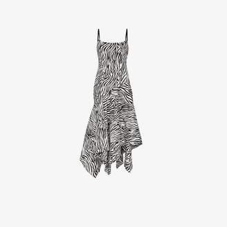 SOLACE London Marisol zebra stripe asymmetric dress
